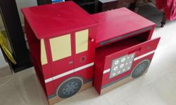 A set of fire engine drawing table c/w bench and