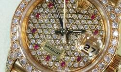Selling Rolex Watch Gold Ladies -modified full diamond