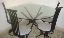 Moving out sale. Round Dining table - Glass top with