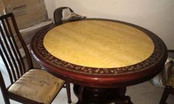 Round imitation marble dining table with 4 chairs