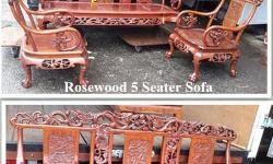 Sale Rosewood 5 Seater Sofa Set with Dragon Design, do