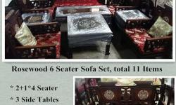 Sale Rosewood Sofa Sets, 6 Seater, total 11 Items, free