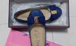 Sapphire blue snake leather print shoes from Forleria.