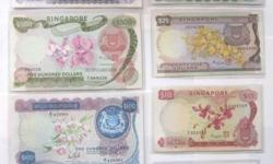 COMPLETE Set of 8 SINGAPORE Old Bank Notes $1 to $1000
