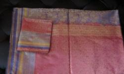 self print silk saree with blouse material. new