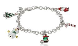 Link-chain silver-tone bracelet featuring enameled