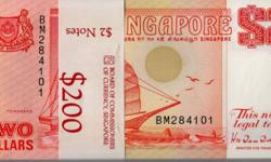 Singapore Ship $2 (Orange) 100 pieces of Singapore Ship
