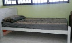 Single bed frame(78 inches) with mattress which is