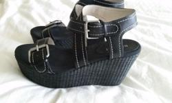 9 West Black Platform Buckle sandals--comfy but still