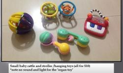 Small baby rattle and stroller /hanging toys (all for