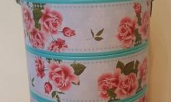 Floral Printed Tingkat Container Round Tin Boxes