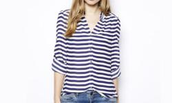 Versatile nautical Stripped Blouse from ZARA. Size M.
