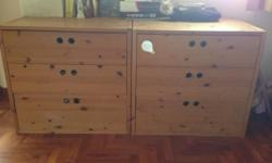 Pair of pine wood drawers in excellent condition.