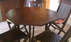 Solid Teak wood dining table and 4 chairs for sale. Pre
