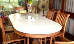 * Solid Wood table with Marble Top * 8 Chairs * Size: