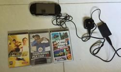 Hardly used black Sony PSP-1006 for sale with charger,