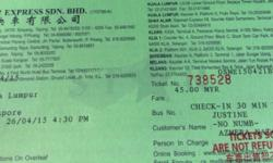 Starmart bus ticket from kl to spore 430pm depature