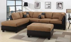 Stella Sofa with Chaise (chestnut) Reversible design,