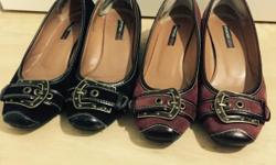 These full leather pumps in black and burgundy are