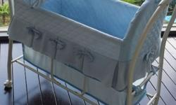 Colour: baby blue Features: cot on wheels, able to