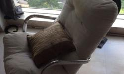 Used Swivel cushion couch chair in white with chrome