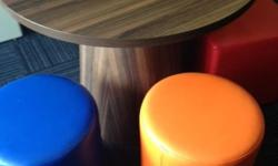 Gorgeous round table and 3 coloured footstools - all in