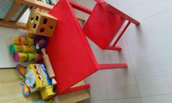 One unit table One Unit Chair Red Colour Wear marks