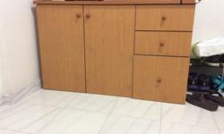 Hard wood table with big wardrobe and 3 drawers, in