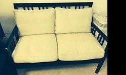Dark Wood Cream Cushions 2 seater Sofa Chair Being sold