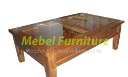 Teak Coffe Table With 2 Drawers, material from teak