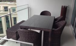 High end outdoor dining set from Teak & Mahogany. 1x