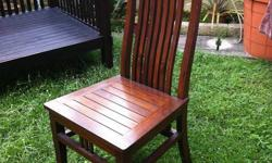SELLING set of 6. Teak wood High back chairs PRICE IS