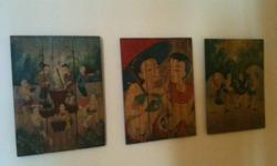 Beautiful, Authentic Thai Paintings on Teak Wood