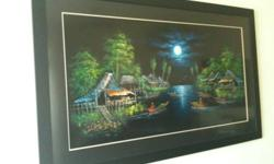 Beautiful, Authenic Thai Scenery Oil Painting on Black