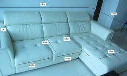 Three-seat off white leather sofa for sale ( lounger +