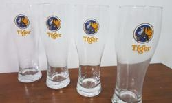 TIGER Beer tall glasses 450 ml (Set of 4 pieces)