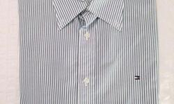 Mens Tommy Hilfiger shirt, size is XL. Blue and white