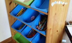 Wooden toys/stationary shelf comes with 10 trays. Ideal