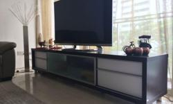 Red Apple TV cabinet. Wood with 4 drawers and glass
