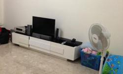 TV console cream color with glass on top: $100