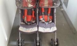 Maclaren Twin stroller. With rain cover. Defects:- !*