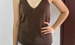 Twisted Strap Brown Tanktop. Notice one side of the