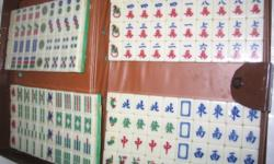 unused Mahjong small tiles set; green back-white front