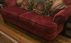 Gorgeous 3 seater deep red English style sofa .