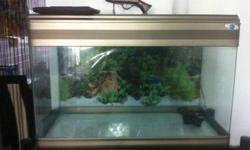 Used 3 feet fish tank for sale. Comes with metal stand,
