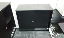 Used designer office set- 1 black table and 3 x side