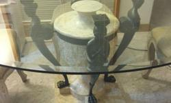 Neo Classical glass dinning table still good condition