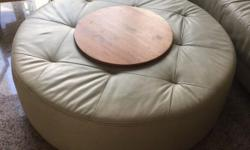Used leather round ottoman for sale Diameter approx