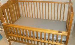 USED sturdy wooden baby-cot for newborn with 2