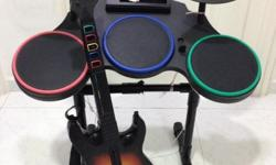 Wii world tour guitar hero and drums Wii fit board Pls